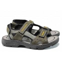 Мъжки сандали на комфортно ходило Rieker 26157-54 зелен ANTISTRESS | Немски мъжки обувки | MES.BG