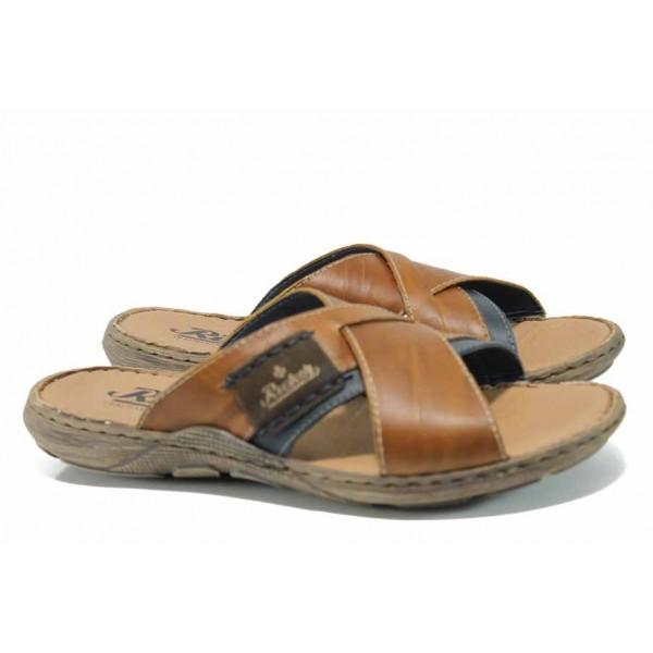 Мъжки чехли от естествена кожа Rieker 22099-25 кафяв ANTISTRESS | Немски мъжки обувки | MES.BG