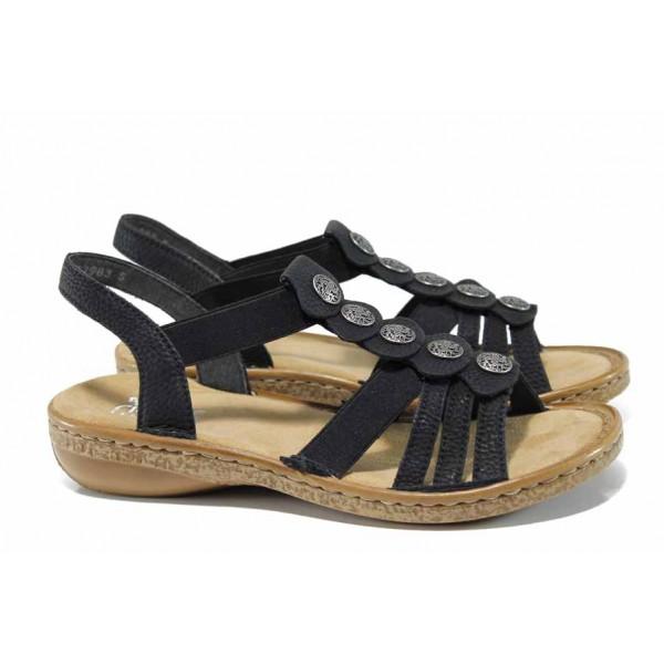 Дамски сандали на комфортно ходило Rieker 62866-00 черен ANTISTRESS | Немски равни сандали | MES.BG