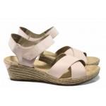 Дамски сандали от естествена кожа Rieker 62443-31 розов ANTISTRESS | Немски сандали на платформа | MES.BG