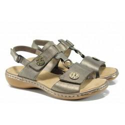 Дамски сандали от естествена кожа Rieker 65974-90 металик ANTISTRESS | Немски равни сандали | MES.BG