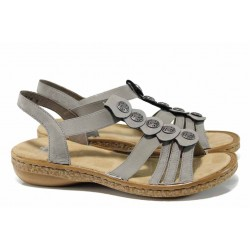 Дамски сандали на комфортно ходило Rieker 62866-42 сив ANTISTRESS | Немски равни сандали | MES.BG