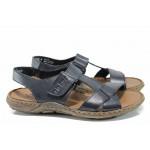 Мъжки сандали от естествена кожа Rieker 22053-14 син ANTISTRESS | Немски мъжки обувки | MES.BG