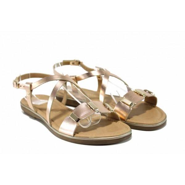 Дамски сандали от естествена кожа Marco Tozzi 2-28140-20 розов | Немски равни сандали | MES.BG