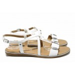 Дамски сандали от естествена кожа Marco Tozzi 2-28140-20 бял лак | Немски равни сандали | MES.BG