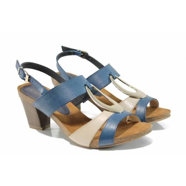 Дамски сандали от естествена кожа Caprice 9-28307-20G син | Немски сандали на ток | MES.BG