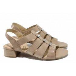 Дамски сандали от естествена кожа Caprice 9-28200-20G бежов | Немски сандали на ток | MES.BG
