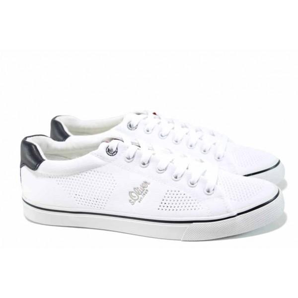 Мъжки спортни обувки с мемори пяна S.Oliver 5-13638-20 бял | Мъжки немски обувки с перфорация | MES.BG