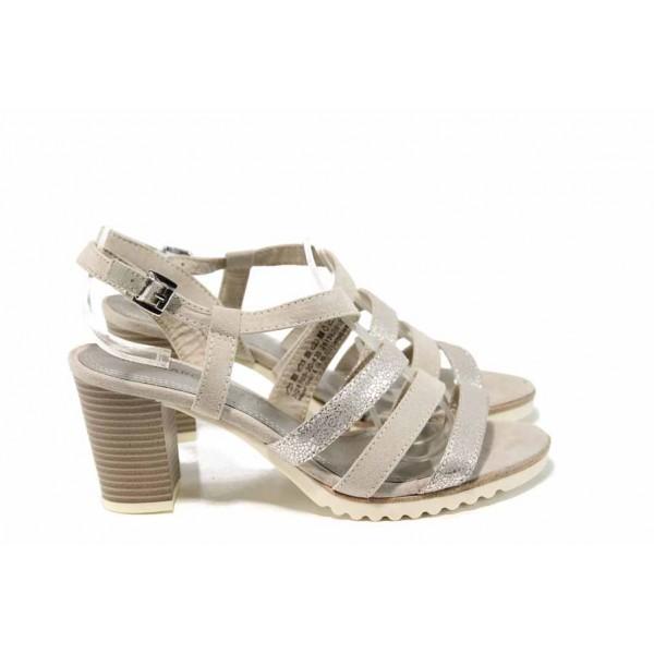 Дамски сандали с еластично ходило Marco Tozzi 2-28705-20 бежов | Немски сандали на висок ток | MES.BG