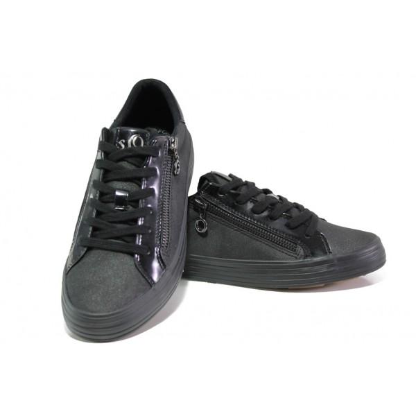 Дамски спортни обувки с мемори пяна S.Oliver 5-23615-21 черен | Немски равни обувки | MES.BG