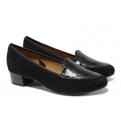 Дамски обувки от естествени велур и кожа-лак за H крак Caprice 9-24302-21 черен | Немски обувки на ток | MES.BG