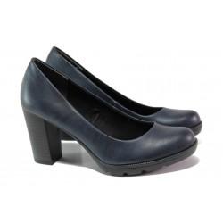 Елегантни дамски обувки на комфортно ходило Marco Tozzi 2-22404-31 син | Немски обувки на ток | MES.BG