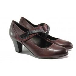 Дамски обувки от естествена кожа Jana 8-24302-21 бордо | Немски обувки на ток | MES.BG