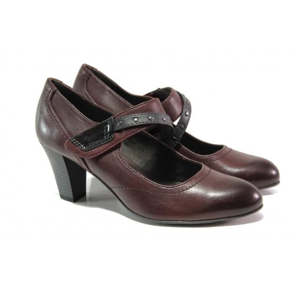 Дамски обувки от естествена кожа Jana 8-24302-21 бордо   Немски обувки на ток   MES.BG