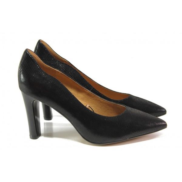 Елегантни дамски обувки от естествена кожа Caprice 9-22411-21 черен змия | Немски обувки на ток | MES.BG
