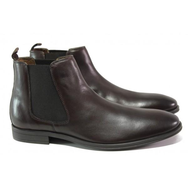 Мъжки боти от естествена кожа и FLEX ходило S.Oliver 5-15300-21 т.кафяв | Немски мъжки обувки | MES.BG