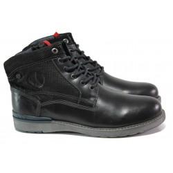 Мъжки боти от естествена кожа с каучуково ходило S.Oliver 5-15227-21 черен | Немски мъжки обувки | MES.BG