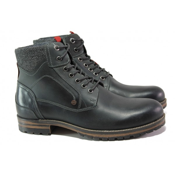 Мъжки боти от естествена кожа с комфортно ходило S.Oliver 5-15220-21 черен | Немски мъжки обувки | MES.BG
