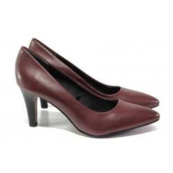 Елегантни дамски обувки от естествена кожа S.Oliver 5-22432-21 бордо | Немски обувки на ток | MES.BG