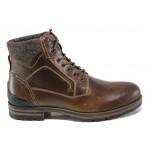 Мъжки боти от естествена кожа с комфортно ходило S.Oliver 5-15220-21 кафяв | Немски мъжки обувки | MES.BG