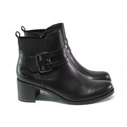 Комфортни дамски боти от естествена кожа Marco Tozzi 2-25302-21 черен ANTISHOKK | Немски боти на ток | MES.BG