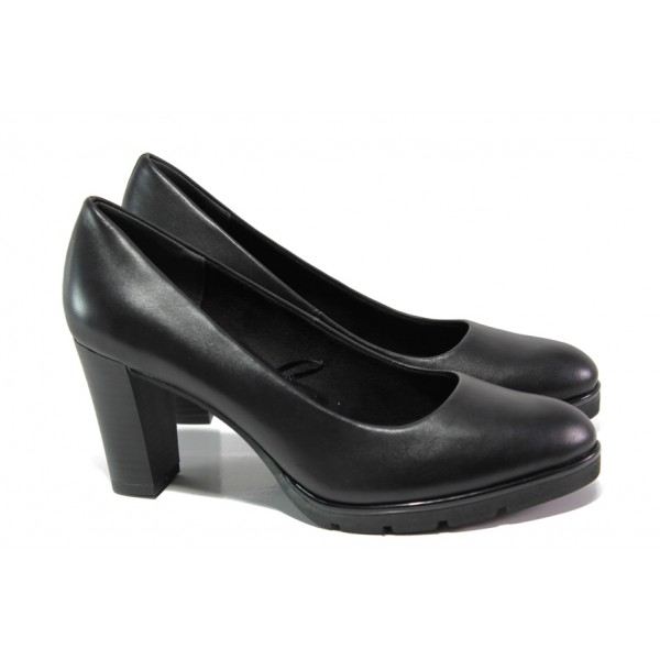 """Дамски обувки от естествена кожа с """"мемори"""" пяна Marco Tozzi 2-22459-21 черен   Немски обувки на ток   MES.BG"""