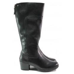 Дамски ботуши от естествена кожа за Н крак Jana 8-25503-21 черен | Немски ботуши на ток | MES.BG
