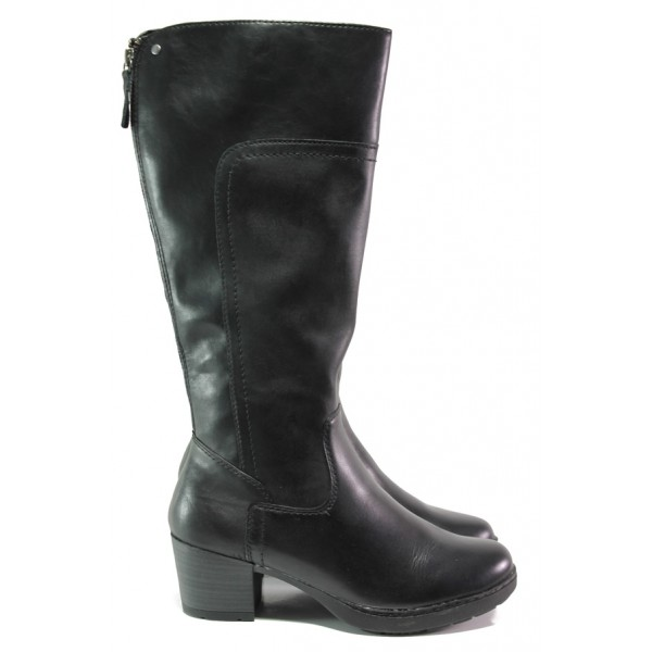 Дамски ботуши от естествена кожа за Н крак Jana 8-25503-21 черен   Немски ботуши на ток   MES.BG