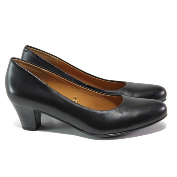 Дамски обувки от естествена кожа Caprice 9-22415-21 черен | Немски обувки на среден ток | MES.BG