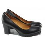 Дамски обувки от естествена кожа Caprice 9-22406-21 черен | Немски обувки на висок ток | MES.BG