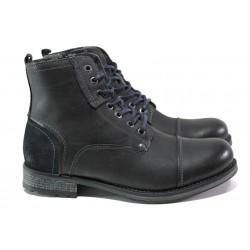 Мъжки боти от естествена кожа с вълнен хастар S.Oliver 5-16222-21 черен | Немски мъжки обувки | MES.BG