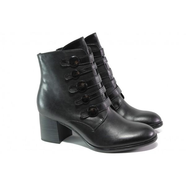 Елегантни дамски боти от естествена кожа S.Oliver 5-25349-21 черен | Немски боти на ток | MES.BG