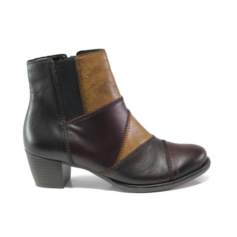 Дамски боти от естествена кожа за Н крак Remonte R2672-25 бордо | Немски боти на ток | MES.BG