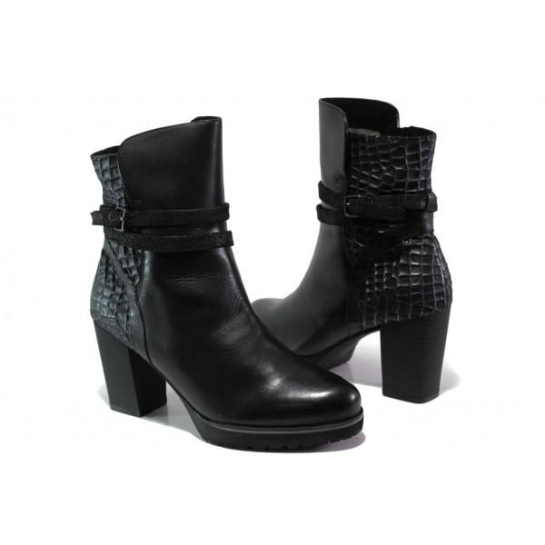 Елегантни дамски боти от естествена кожа Caprice 9-25427-21 черен | Немски боти на ток | MES.BG