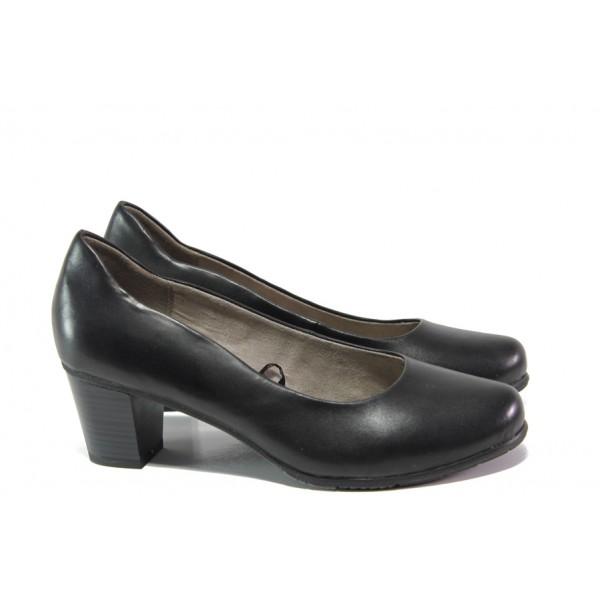 Дамски обувки от естествена кожа за Н крак Jana 8-22404-22 черен | Немски обувки на ток | MES.BG