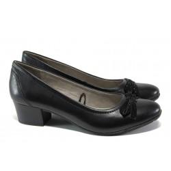 Анатомични дамски обувки от естествена кожа за Н крак Jana 8-22309-22 черен | Немски обувки на среден ток | MES.BG