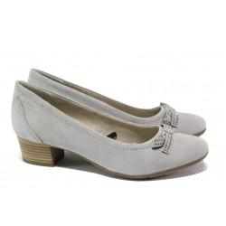 Анатомични дамски обувки от естествен велур за Н крак Jana 8-22309-22 св.сив | Немски обувки на среден ток | MES.BG