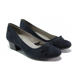 Дамски обувки от естествен велур Jana 8-22309-22 син | Немски обувки на среден ток | MES.BG