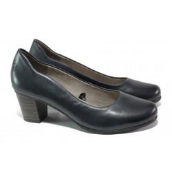Дамски обувки от естествена кожа за Н крак Jana 8-22404-22 син | Немски обувки на среден ток | MES.BG