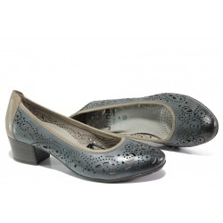 Дамски обувки от естествена кожа Jana 8-22306-22H т.син | Немски обувки на ток | MES.BG