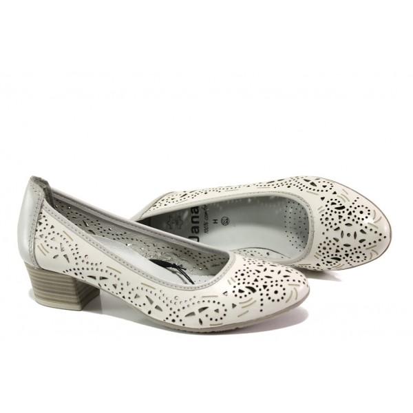 Дамски обувки от естествена кожа Jana 8-22306-22H бял-сив | Немски обувки на ток | MES.BG