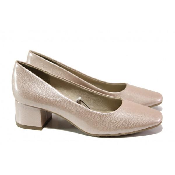 Дамски лачени обувки на среден ток Jana 8-22302-22G розов лак | Немски обувки на ток | MES.BG