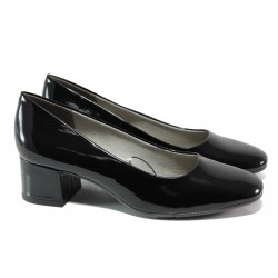 Дамски лачени обувки на среден ток Jana 8-22302-22G черен лак | Немски обувки на ток | MES.BG