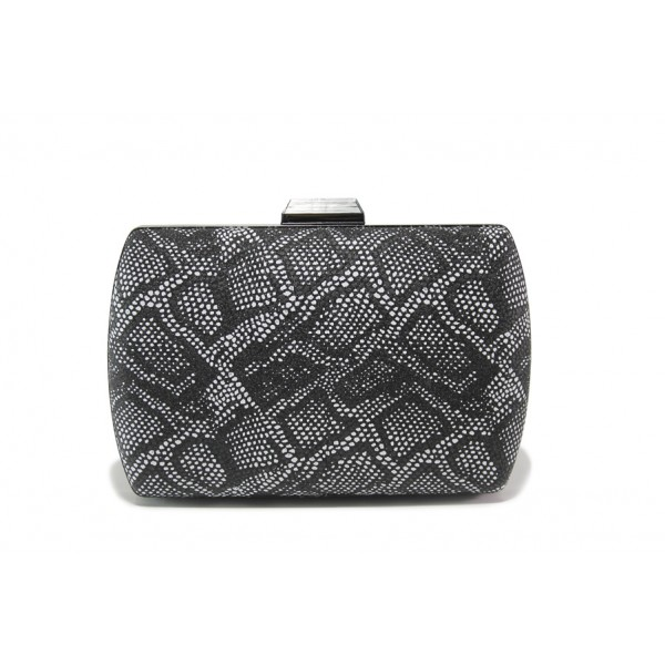 Елегантна дамска чанта клъч МИ 3 черен-бял | Дамска чанта | MES.BG