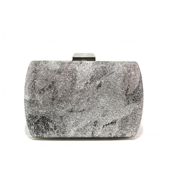 Елегантна дамска чанта клъч МИ 3 сребро | Дамска чанта | MES.BG