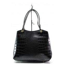 Елегантна дамска чанта от естествена кожа ФР 24 черен кроко | Дамска чанта | MES.BG