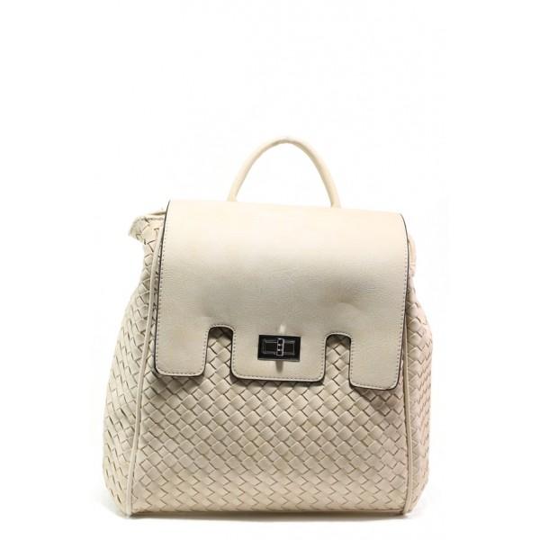 Дамска спортна чанта-раница ФР 1387 бежов | Дамска чанта | MES.BG