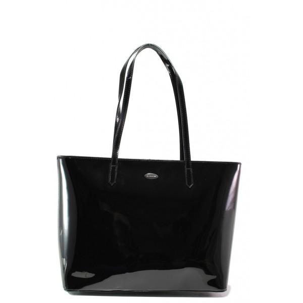 Лачена дамска чанта ФР 3856 черен | Дамска чанта | MES.BG