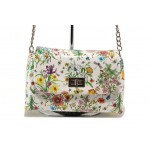 Модерна спортна чанта ФР 28103 бял цветя | Дамска чанта | MES.BG