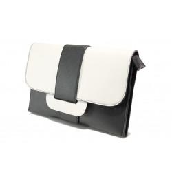 Елегантна дамска чанта клъч ФР 477 черен-бял | Дамска чанта | MES.BG
